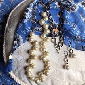Anne Klein faux pear/silver necklace & earrings